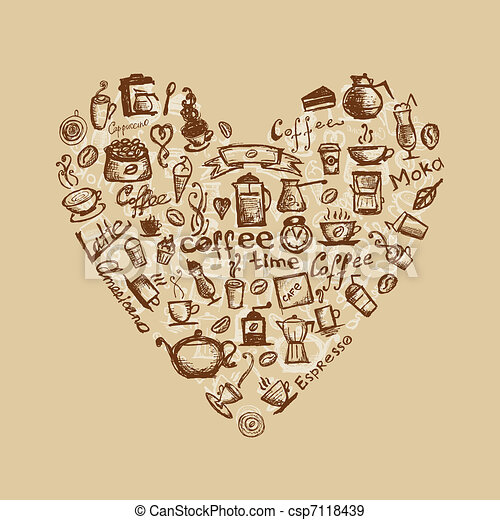 Coffee time, heart shape for your design - csp7118439