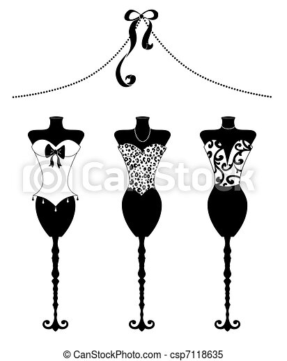 Chic Fashion Dress Forms With Bustiers black and white - csp7118635