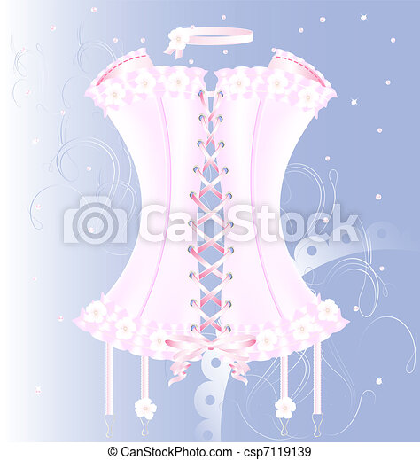 white-pink corset with pearl and tape - csp7119139