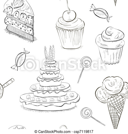 Seamless pattern with a lot of sweets - csp7119817