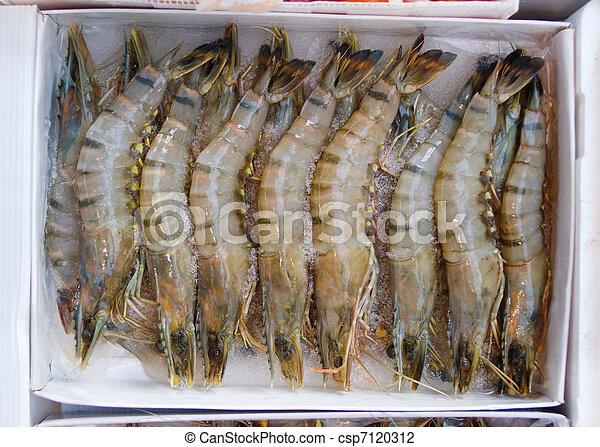 Raw jumbo tiger prawns at market - csp7120312