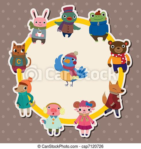 cartoon winter animal card - csp7120726