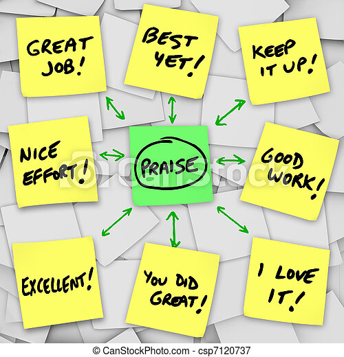 Praise Positive Reviews and Comments on Sticky Notes - csp7120737