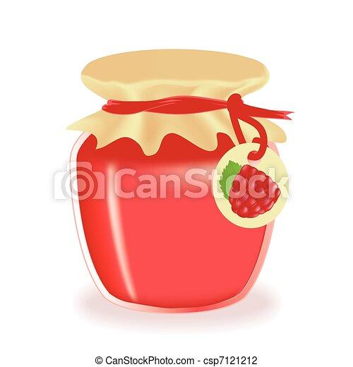 Jar of raspberry jam isolated - csp7121212