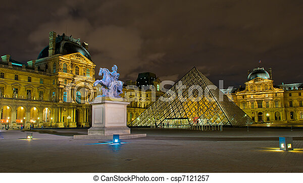 Louvre museum at night, Paris, France - csp7121257