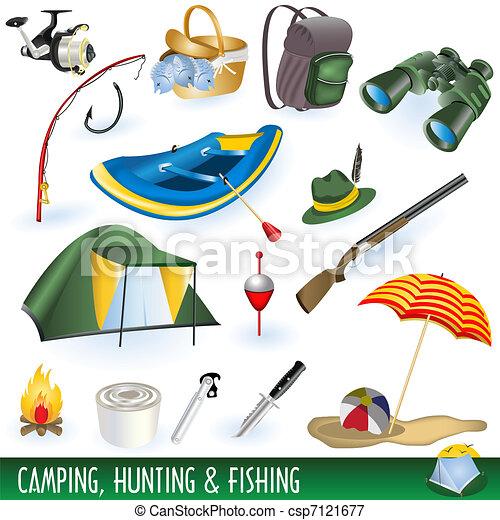 campamento, caza, y, pesca - csp7121677