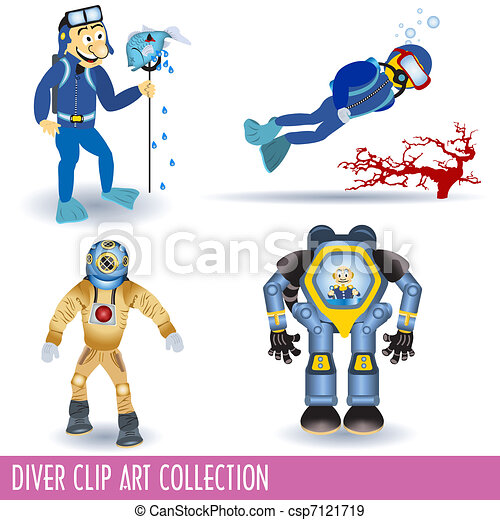 Diver Clip Art Collection - csp7121719