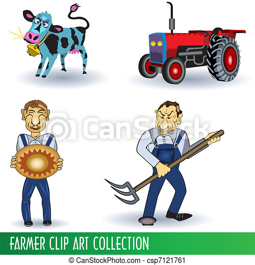 Farmer Clip Art Collection - csp7121761