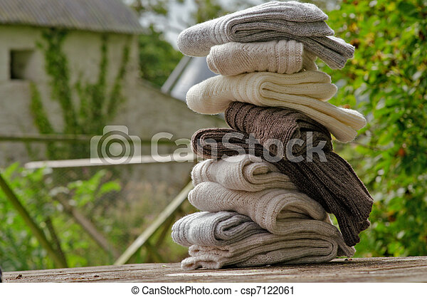 Irish wool chunky knit ribbed winter socks - csp7122061