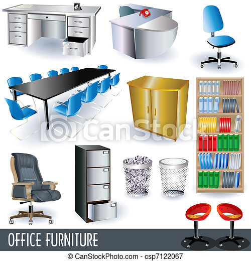 Vectors Illustration Of Office Furniture A Collection Of