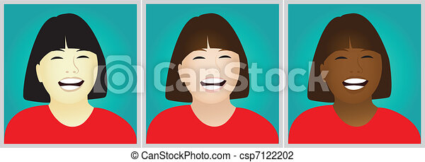 Laughing girls clipart - csp7122202