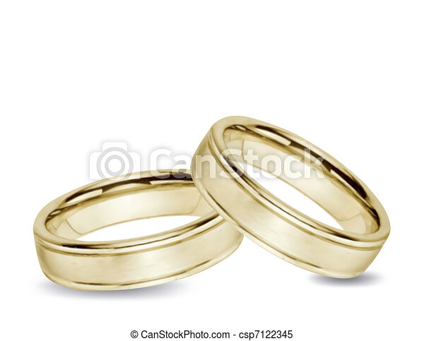 Wedding gold Rings. Vector - csp7122345