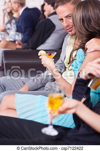 Three couples on a romantic date in the night club - csp7122422