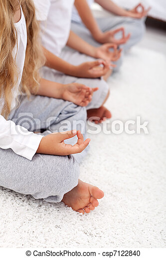 Lotus position yoga relaxation detail - csp7122840