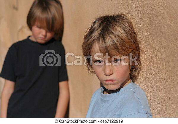 sad abused abandoned street kids - csp7122919