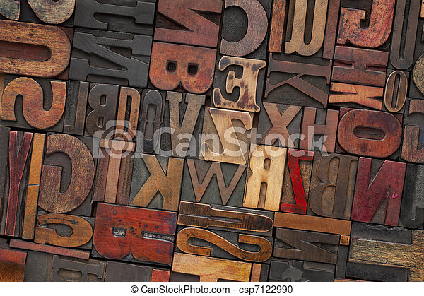 vintage wood letterpress type - csp7122990