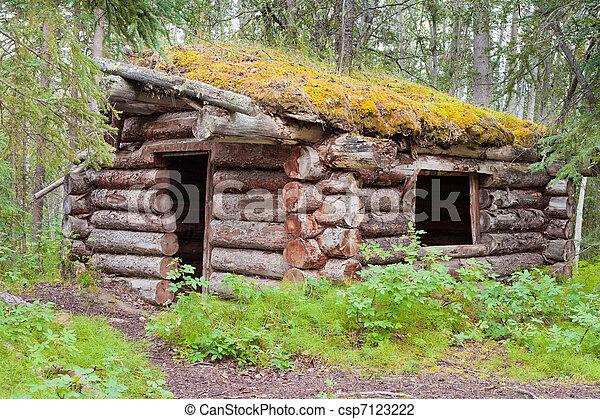 Old traditional log cabin rotting in Yukon taiga - csp7123222