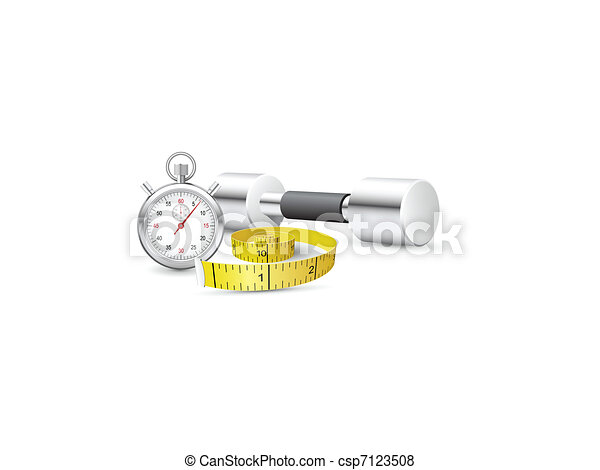 Stopwatch, measuring tape and dumbb - csp7123508