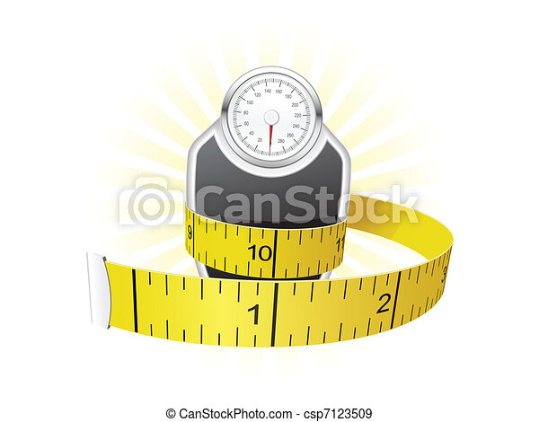Weights and tape measure - csp7123509
