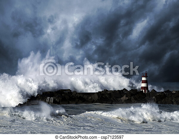 Stormy waves against beacon - csp7123597