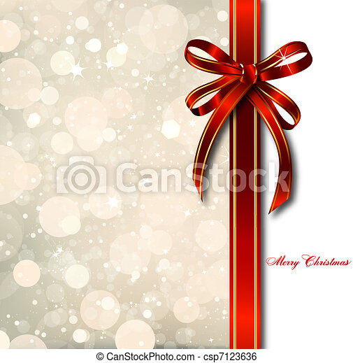 Red bow on a magical Christmas card. Vector - csp7123636