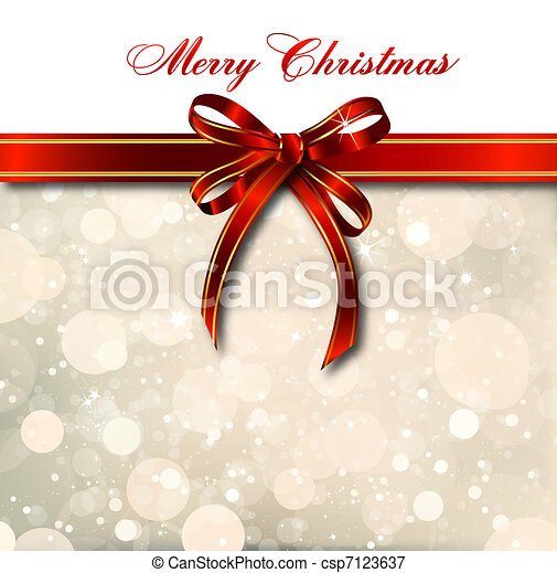 Red bow on a magical Christmas card. Vector - csp7123637