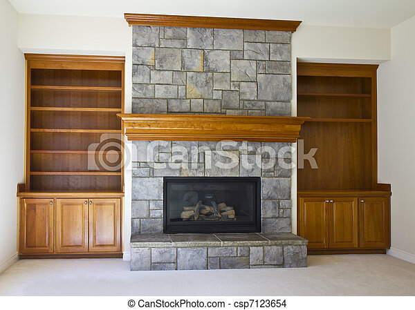 Open Fireplace and Book Shelf - csp7123654