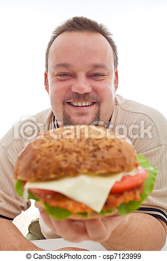 Man happy with the size of his hamburger - csp7123999