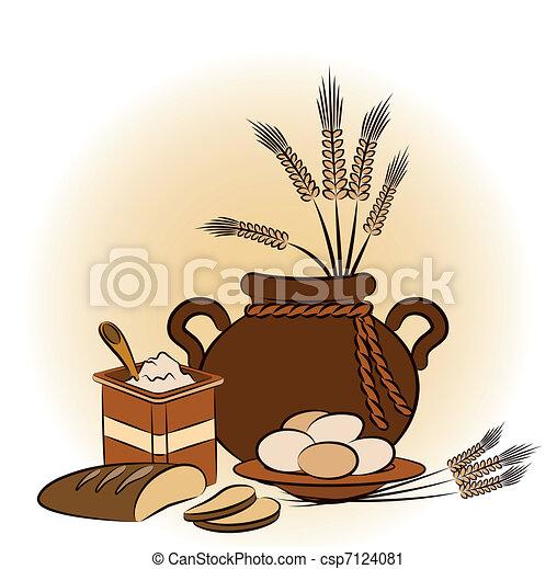 Vintage healthy meal ingredients. - csp7124081