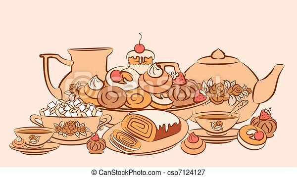 Stock Illustrations Of Vintage Tea Set And Sweet Cakes