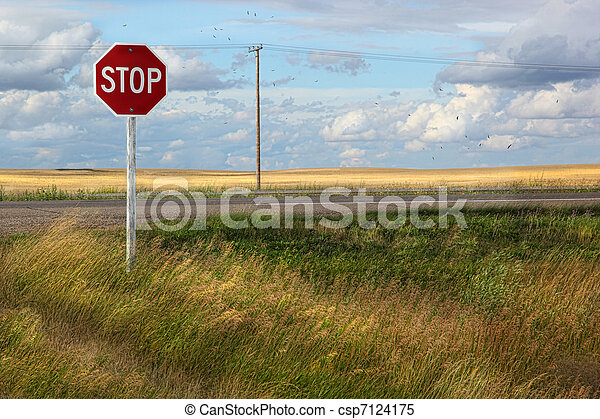 Rural stop sign on the prairies  - csp7124175