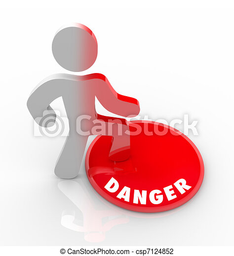 Danger Red Button Person Warned of Threats and Hazards - csp7124852