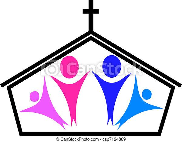 信徒, 教堂 - csp7124869