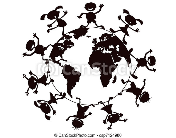 kids playing around the world - csp7124980