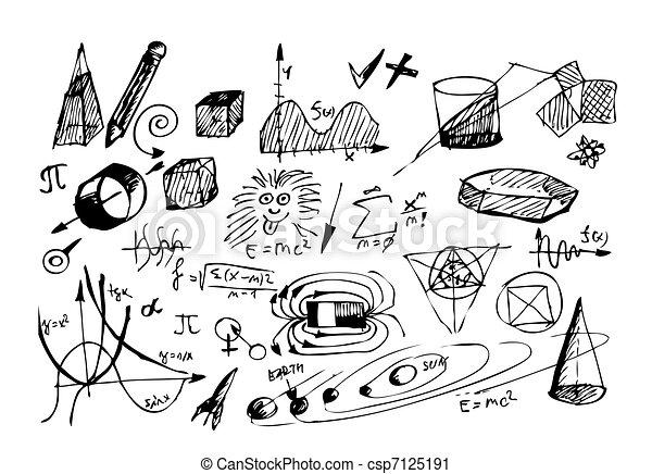 hand drawn math and physic symbols - csp7125191