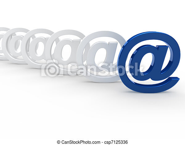 3d blue white email sign - csp7125336