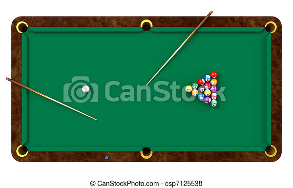 Billiard table with balls and cues - csp7125538