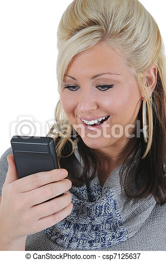 Attractive Woman Using a Smart Phone 10 - csp7125637