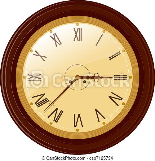 Vector illustration of round clock with Roman numerals - csp7125734