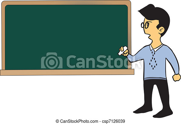 Cartoon teacher standing by the blackboard - csp7126039