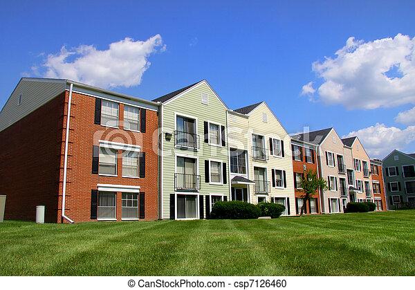 Colorful apartment building - csp7126460