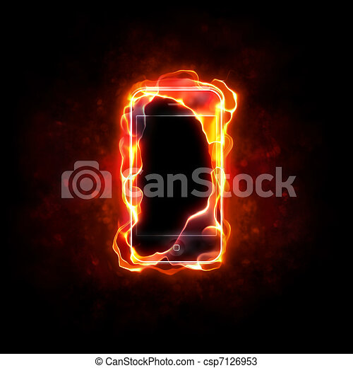 burning cellphone - csp7126953