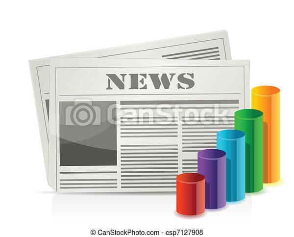 chart statistics and newspaper  - csp7127908