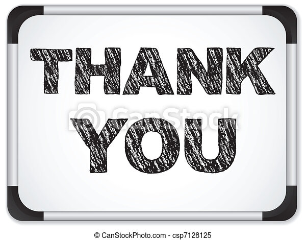 Whiteboard with Thank You Message written with Chalk - csp7128125