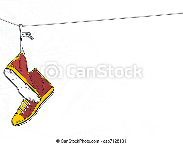 Sneakers Hanging on wire on White Background - csp7128131