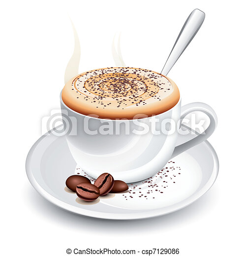 Cup of hot cappuccino - csp7129086