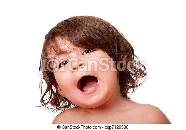 Funny singing baby toddler - csp7129536