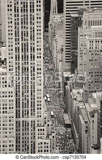New York City Manhattan street aerial view black and white - csp7130704