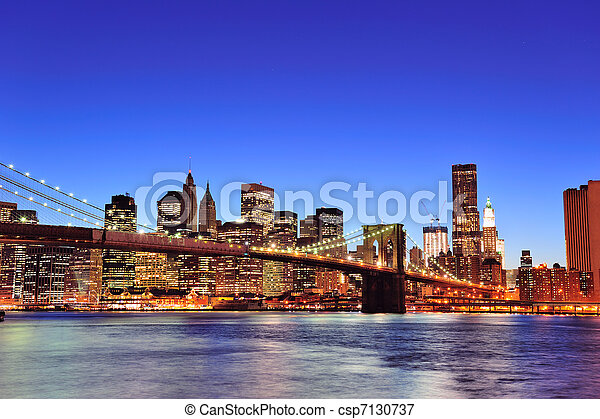 Brooklyn bridge with New York City Manhattan downtown - csp7130737