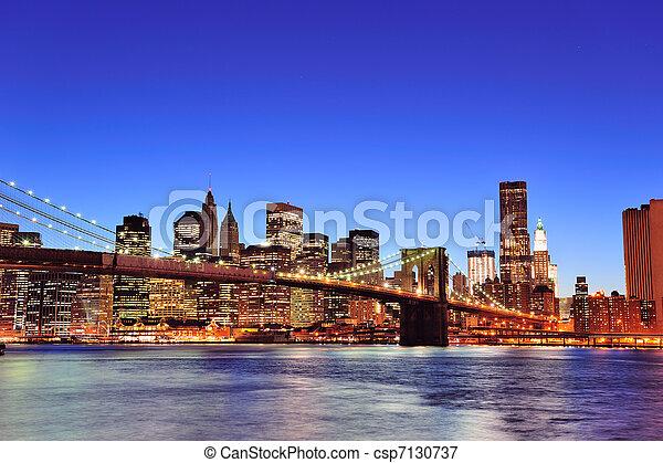 Brooklyn bridge with New York City Manhattan downtown - csp7130737
